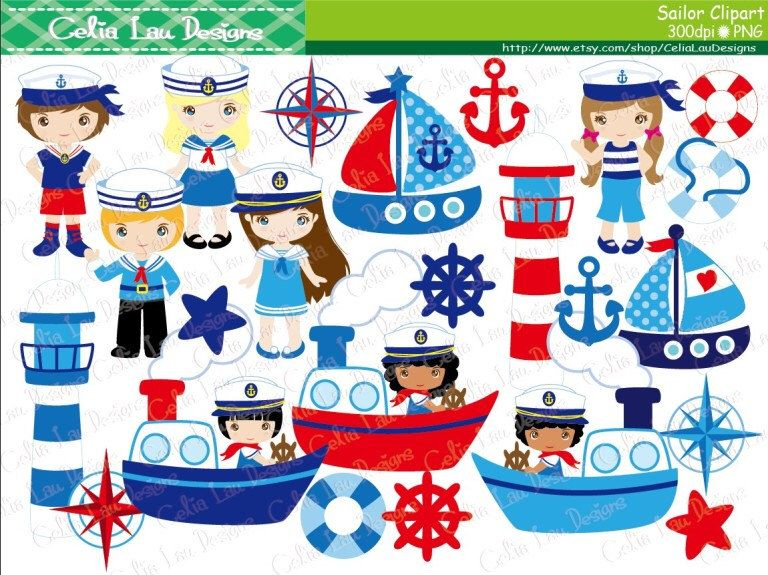 Sailor Clipart, Sailing Boat Clipart, Nautical Clip Art.