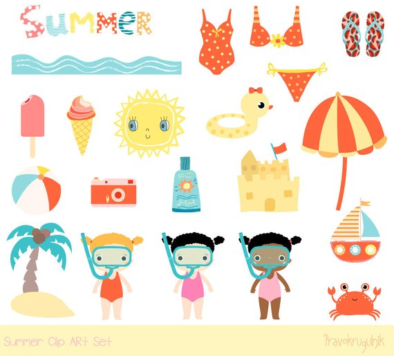 Cute summer clipart, Beach clipart, Vacation clip art.
