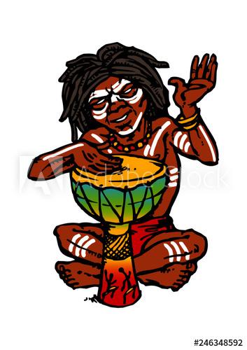 Australian aboriginal native sitting and playing on drum.