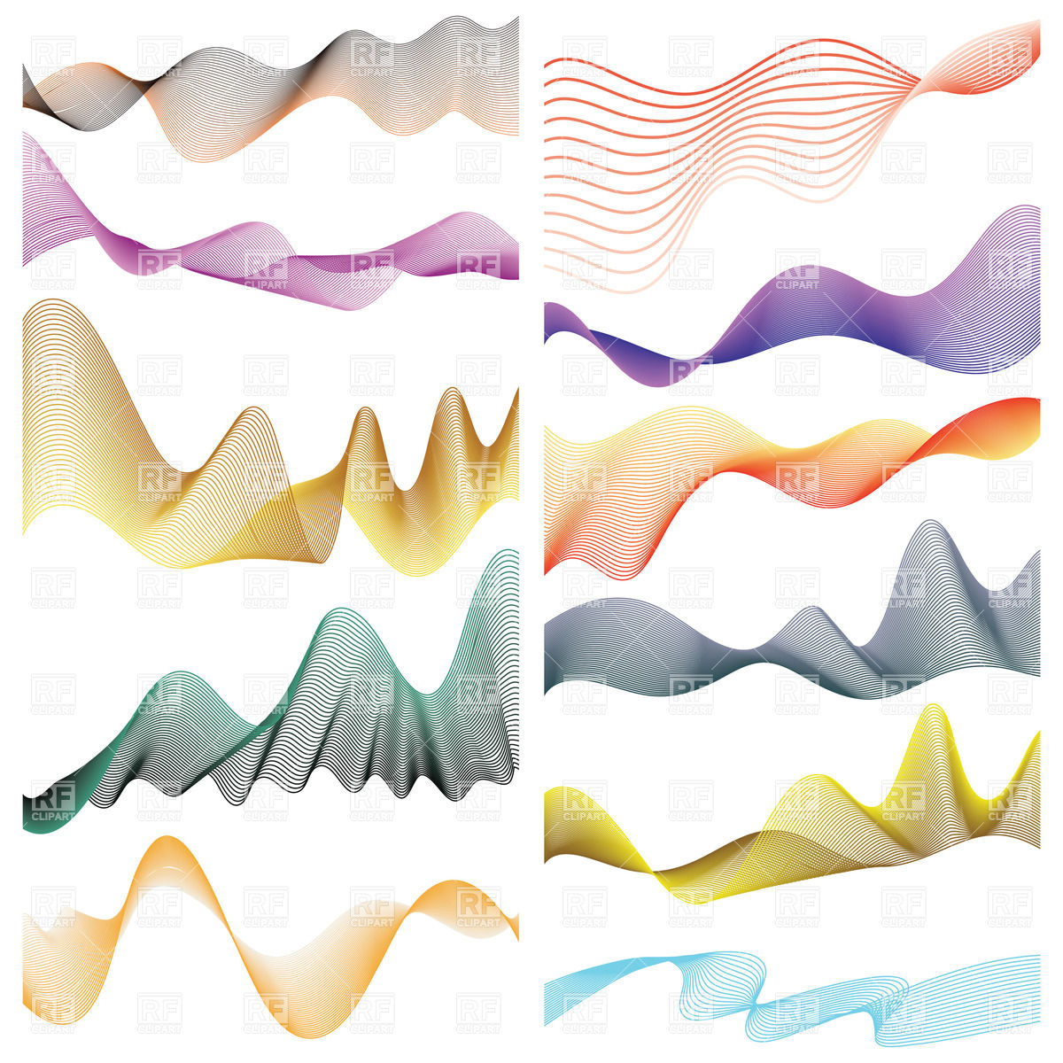 Abstract linear wavy design elements Stock Vector Image.
