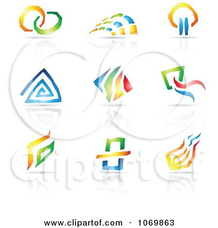 Clipart Abstract Design And Reflection Logos 1.