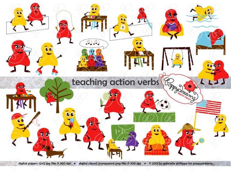 Teaching Action Verbs Clipart & Digital Flashcards: Digital Image Set (300  dpi) School Teacher Clip Art Reading Flashcards Reading Grammar.