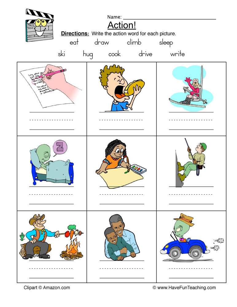 Identifying Action Words Worksheet.
