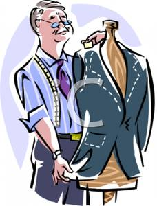 A Colorful Cartoon of a Male Tailor Making Adjustments To a.