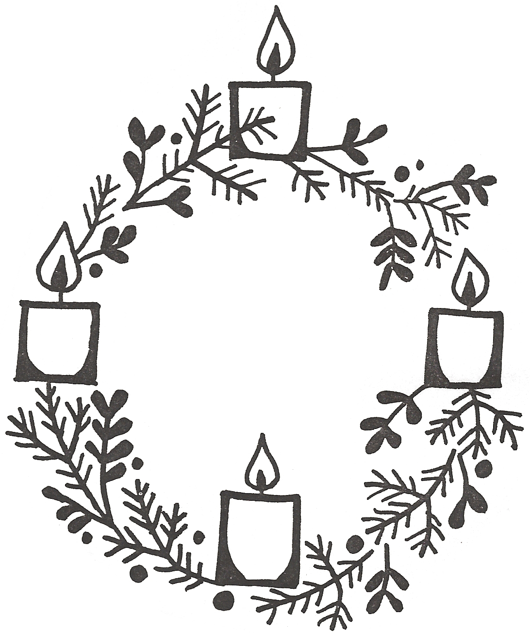 Clipart Advent Wreath Two Candles Lit.