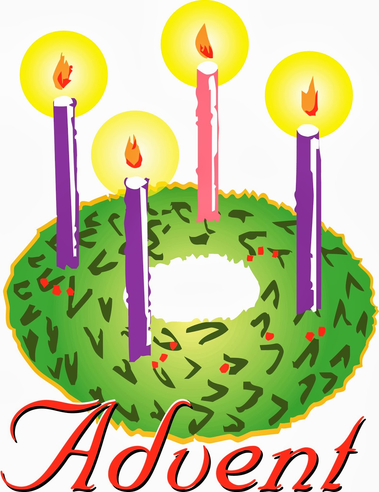 Advent Wreath One Candle Lit Clipart Bw.