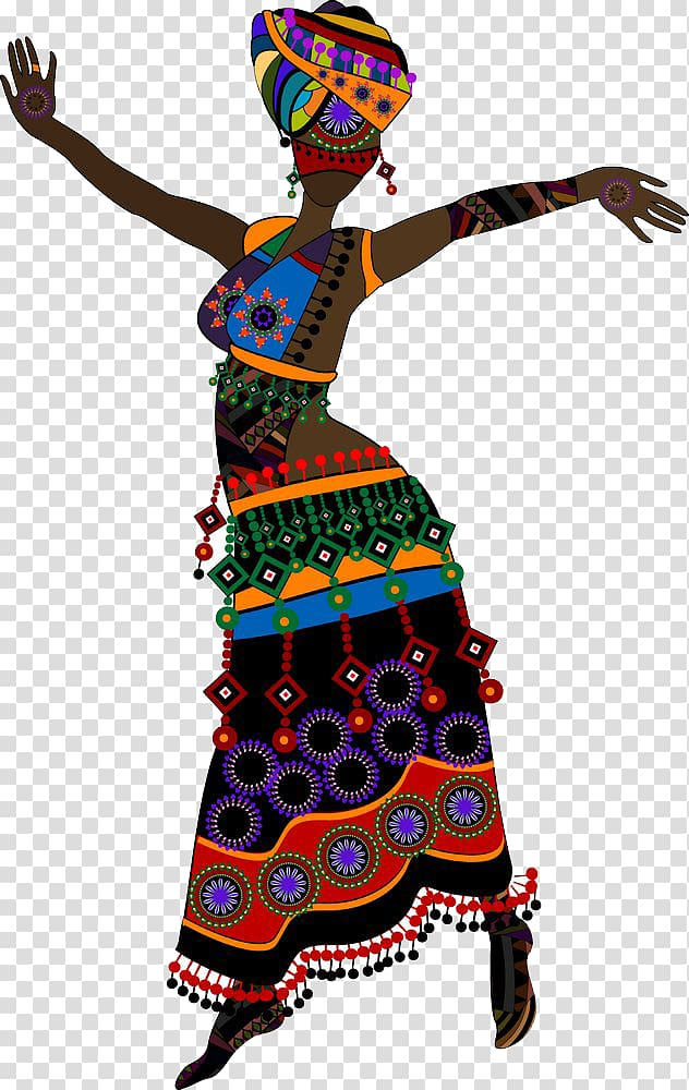 Woman wearing multicolored dress , Music of Africa Dance.