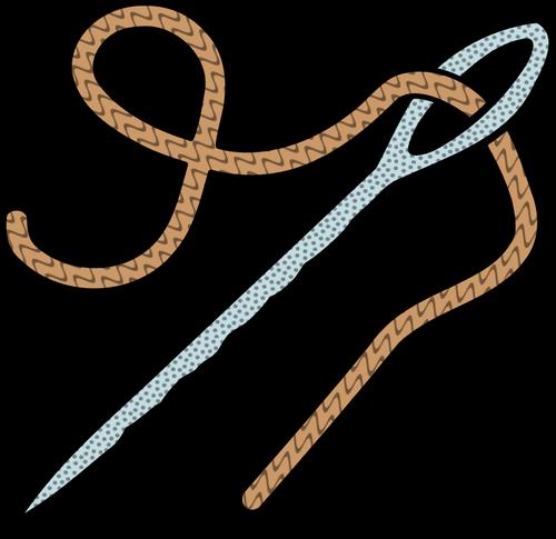 Colorata ago e filo linea arte disegno vettoriale.
