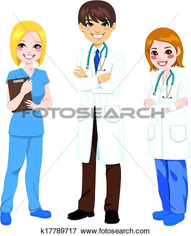 Clip Art of Three Hospital Workers k17789717.
