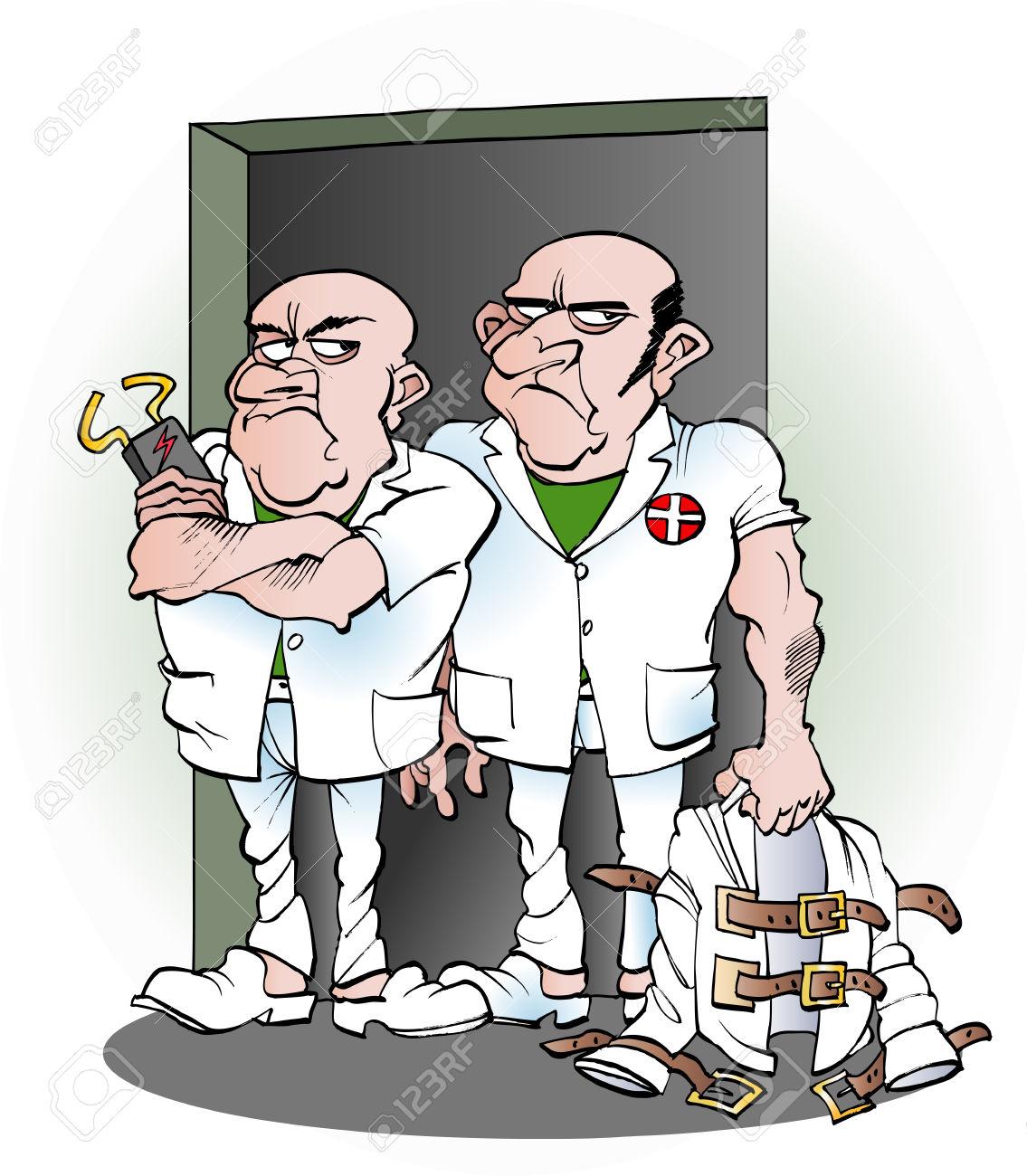 Vector Cartoon Illustration De Deux Soignants De L'hôpital.