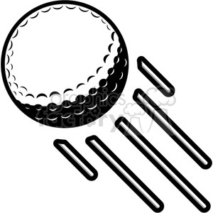 vector golf ball flying through air clipart. Royalty.