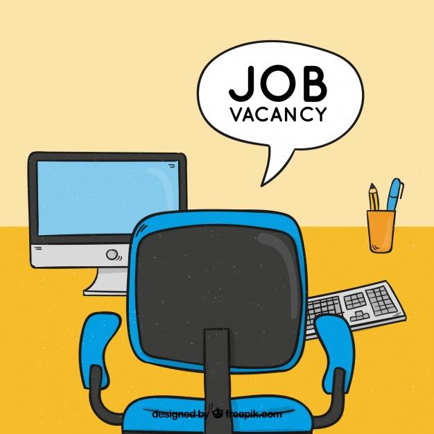Job vacancy background with desk Vector.