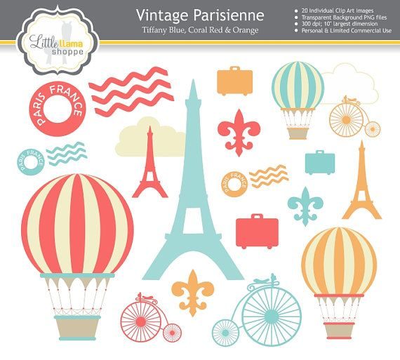 Paris Clip Art, France Clipart, Vintage Paris Illustrations.