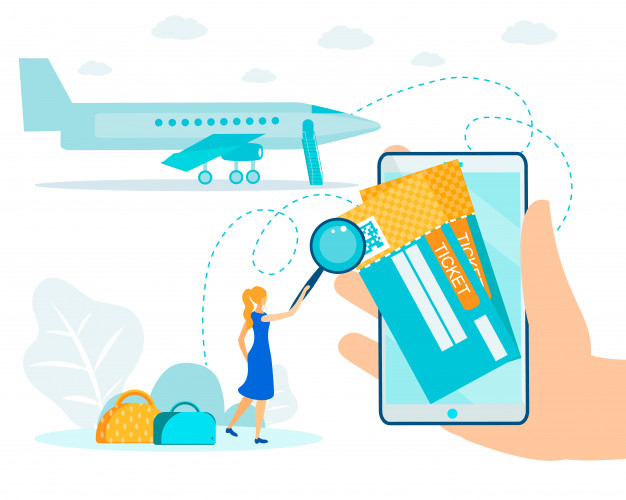 Electronic air ticket and online check.