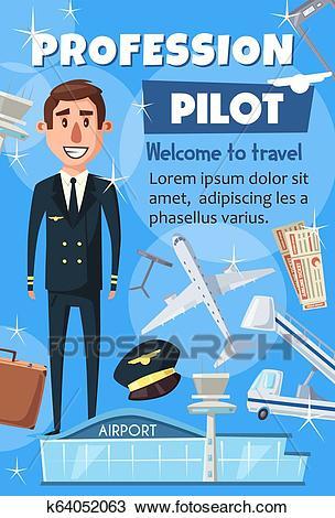Aviation pilot profession, airport staff Clipart.