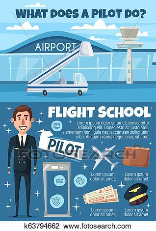 Flight school invitation with pilot and airport Clipart.