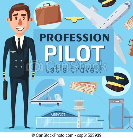 Pilot profession vacancy at airport poster vector.
