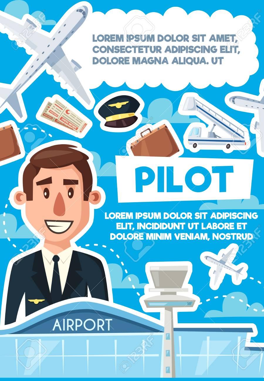 Pilot recruting hiring poster, job vacancy at airport, aviator...