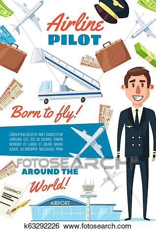 Airline pilot profession, captain in uniform Clip Art.