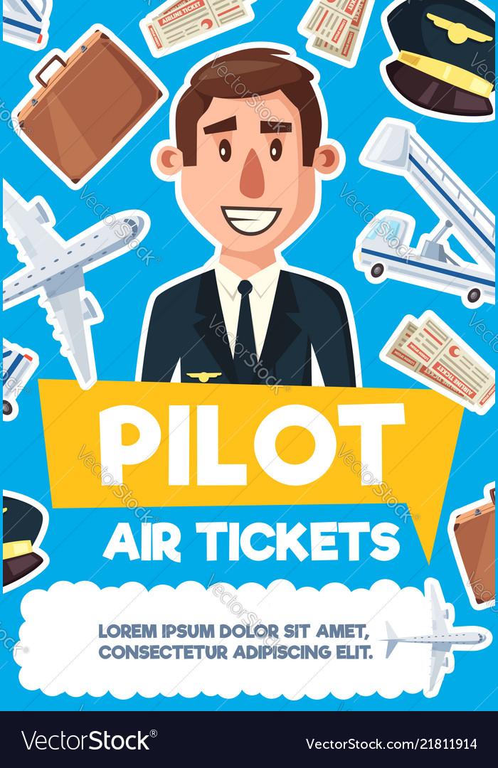 Pilot man aviation profession poster.