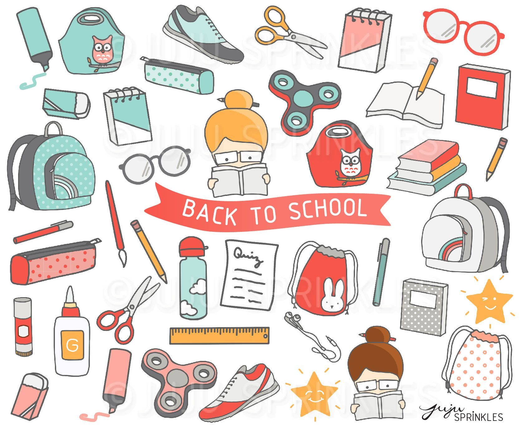 Back to School Clipart and Sticker Set in 2019.