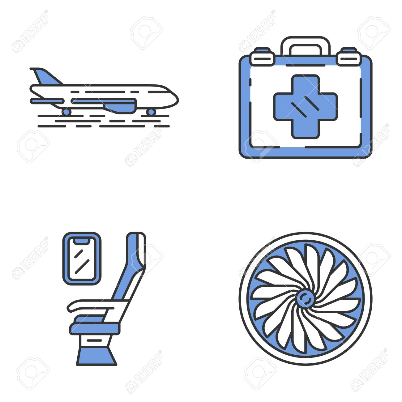 Aviation services color icons set. Plane on ground. Airplane...