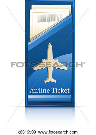 Clip Art of airline ticket k6316509.