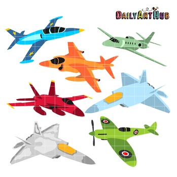 Cute Airplanes Clip Art.