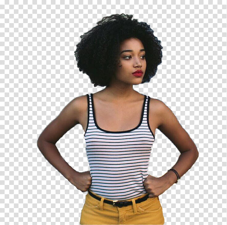 AMANDLA STENBERG, woman with hands akimbo looking on left.