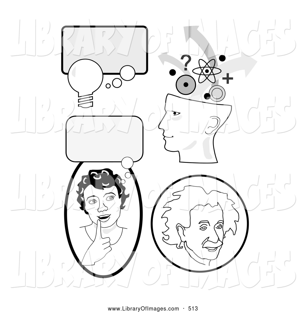 Clip Art of a Set of Educational Icons with Thought Bubbles, a.