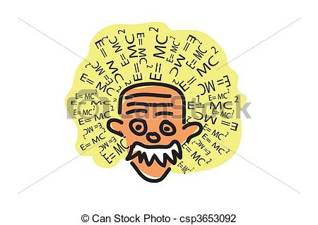 Clip Art of albert einstein head isolated on the white background.