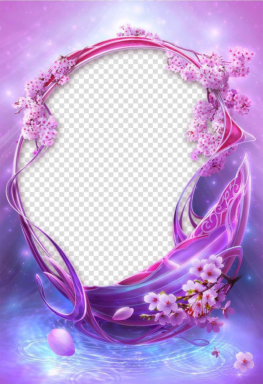 Pink and purple flower illustration, frame Flower Purple.