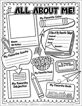 FREE All About Me Activity Worksheet Template {Zip.