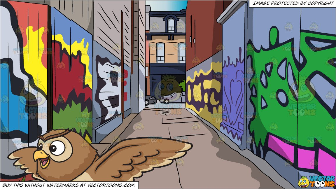 A cute flying night owl and Graffiti Alley Background.
