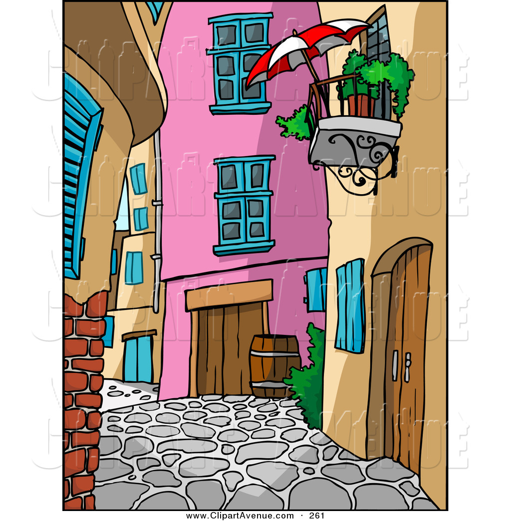 Avenue Clipart of a Cobblestoned Alleyway with Wooden Doors.