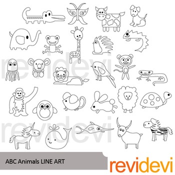 Alphabet animals clip art (black and white clipart).