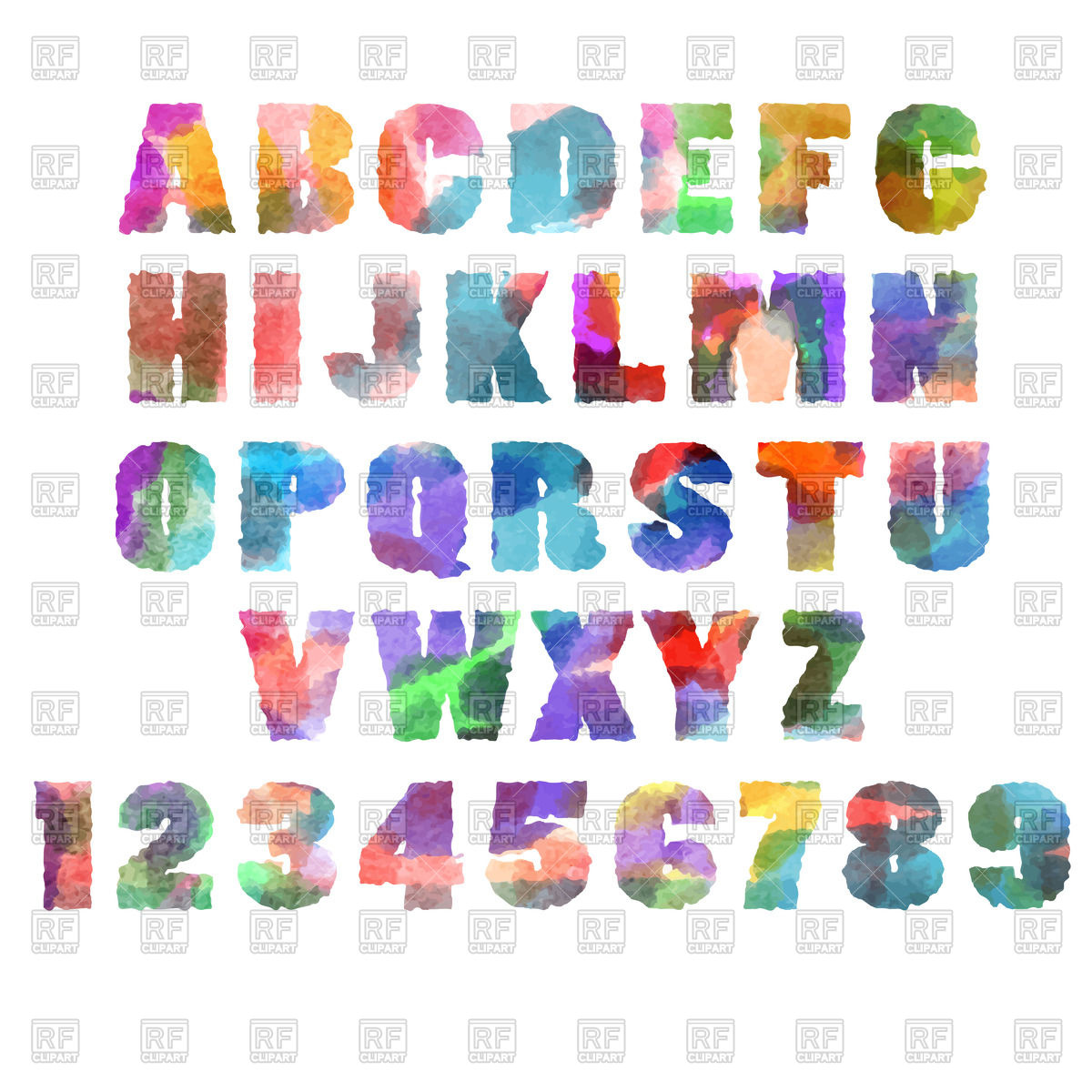 Alphabet (font) letters with watercolor or aquarelle texture Stock Vector  Image.