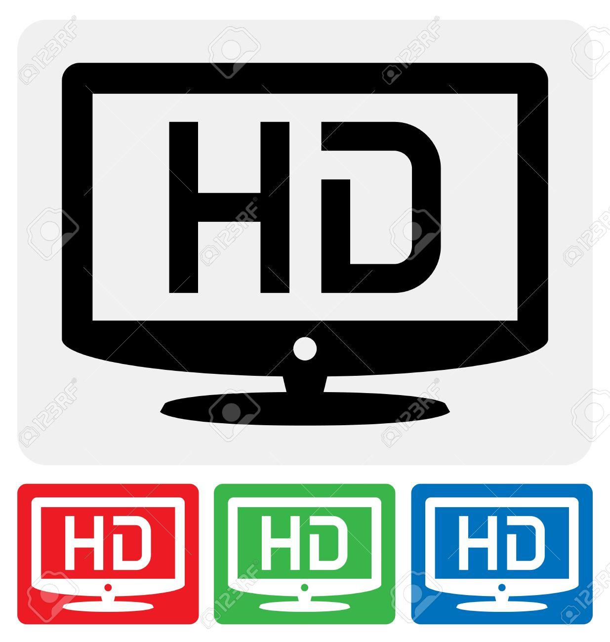 Alta Definizione Simbolo Televisione / Icona HDTV Clipart Royalty.