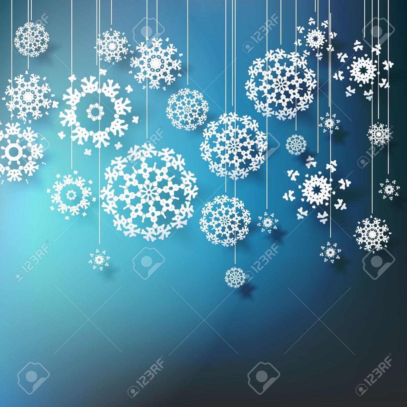 Fiocchi Di Neve Alta Definizione Su Sfondo Blu Clipart Royalty.