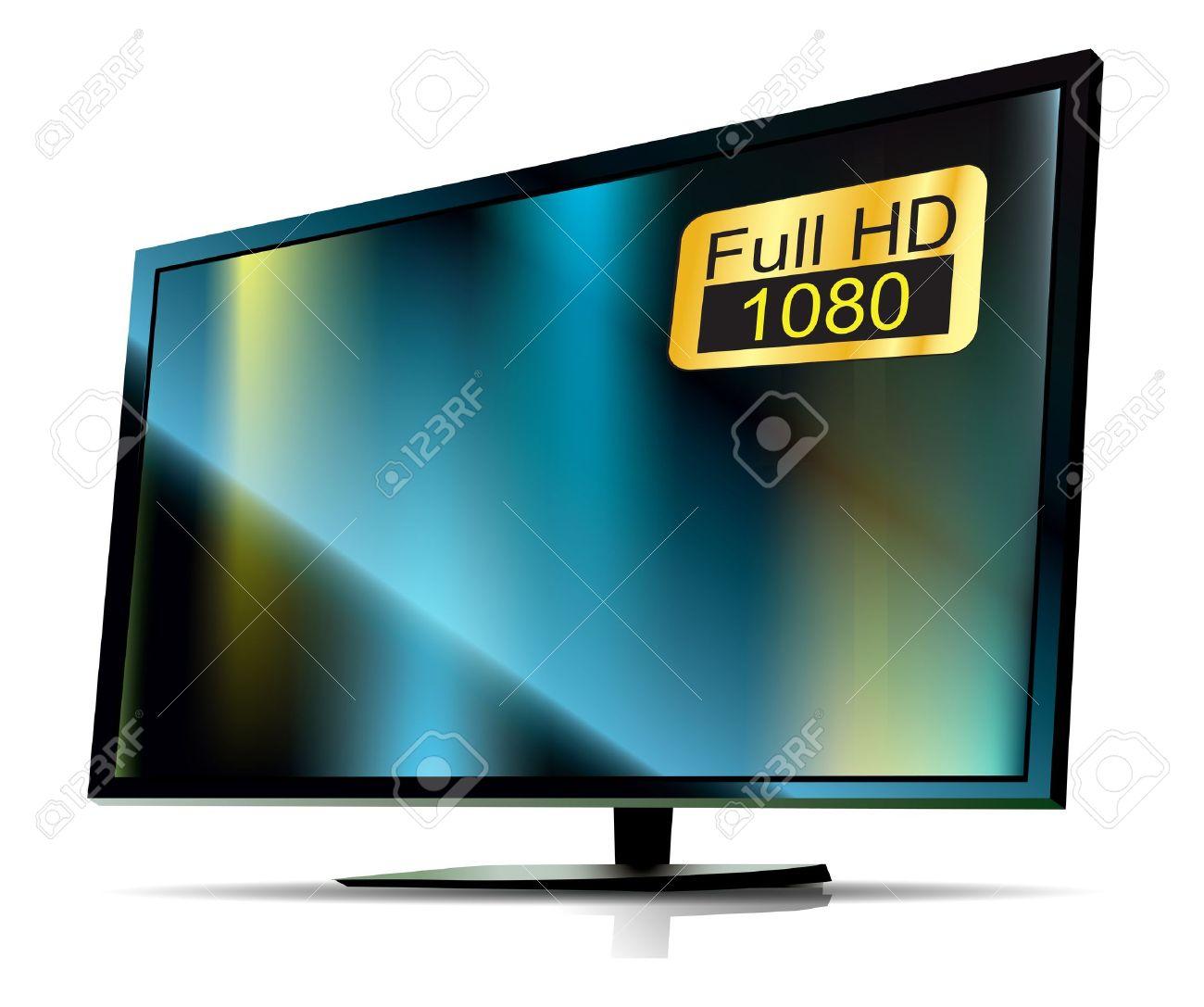 Nero TV Full HD. TV Ad Alta Definizione Su Sfondo Bianco Clipart.