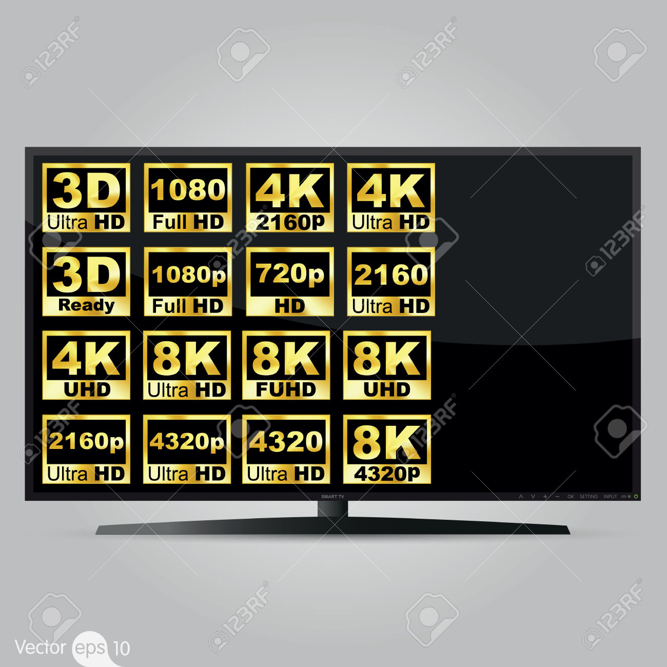 Alta Definizione Dello Schermo Della Televisione Digitale Clipart.
