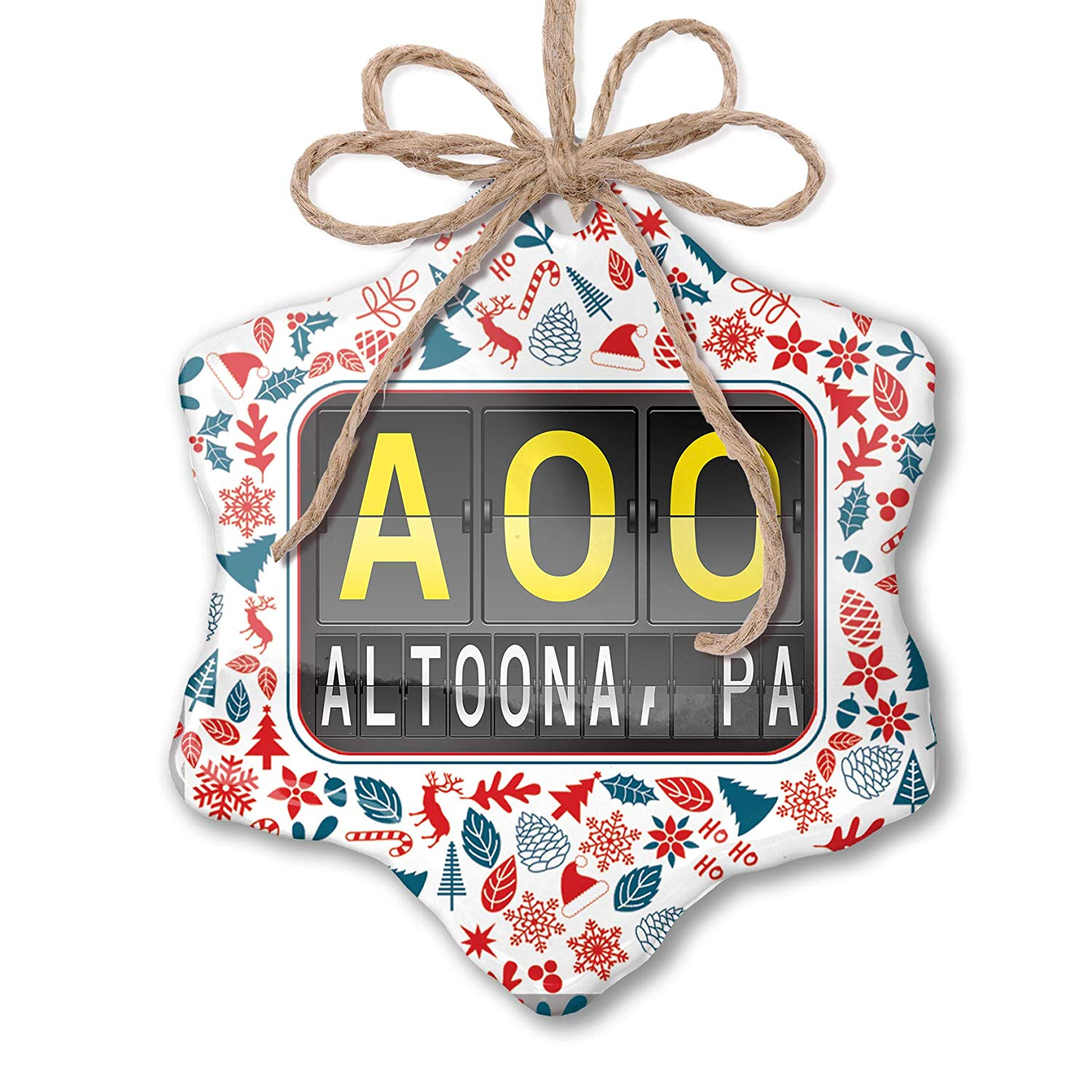 Amazon.com: NEONBLOND Christmas Ornament AOO Airport Code.