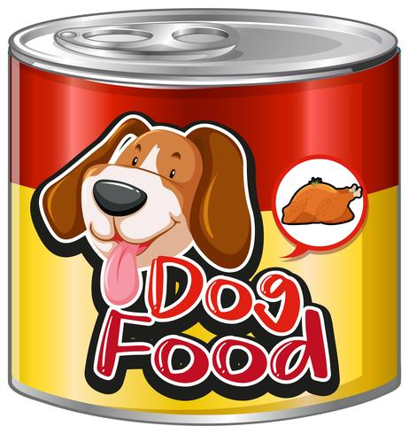 Dog food in aluminum can.