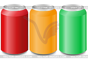 Coloured aluminum cans with soda.
