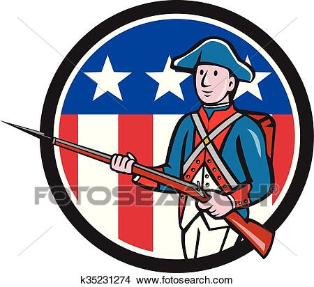 American Revolutionary Soldier USA Flag Circle Cartoon Clipart.