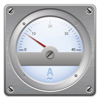 Analog ammeter on metal plate Clipart Image.
