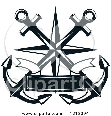 Clipart Teal Nautical Anchor And Banner Logo.