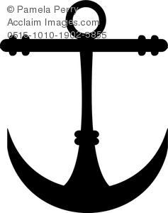 Clip Art Image of an Anchor Icon Silhouette.