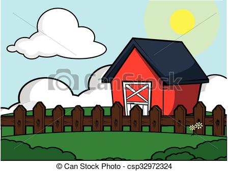 Vector Illustration of farm house scenery.
