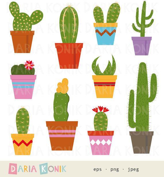 Cactus Clip Art Set.